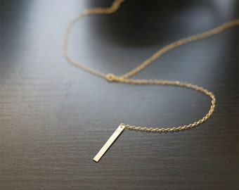 Minimal thick Gold Bar Drop Necklace / Simple Bar Lariat Necklace / Minimal Y Necklace / 14K Gold Filled Simple Vertical Bar Drop Necklace