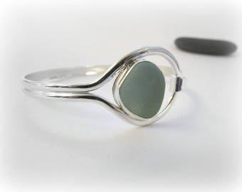 Sea glass bangle. Sea glass bracelet. Sterling silver bangle. Maine gift. Handmade jewelry. Bezel sea glass. Beach glass bracelet.
