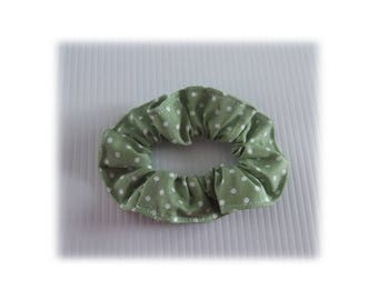 LILAC GREEN SCRUNCHIE HAS WHITE DOTS