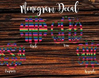 Monogram Decal, Car Monogram, Car Decal, Serape Monogram Decal