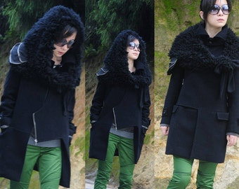 black wool jacket with large faux fur hood