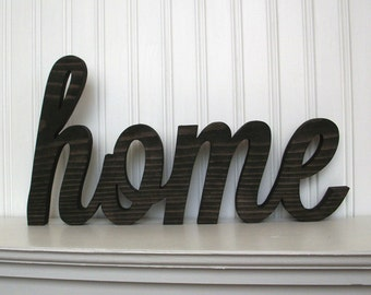 home Wood Sign, home Wood Word Sign Ebony Stained home Wood Letter Sign