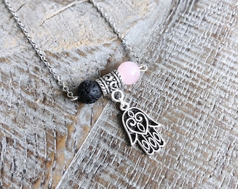 Hasma Necklace, Hasma Hand Necklace, Essential Oil Diffuser Necklace, Rose Quartz Necklace, Lava Stone Diffuser Necklace, Anxiety