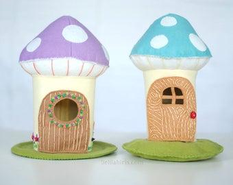 Mushroom DollHouse Sewing Pattern * Printable PDF Toadstool House * Woodland Felt Doll House Pattern * Felt Toy Sewing Pattern
