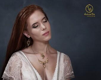 Gemstone Earrings, Gold Gemstone Earrings, Flower Dangle Earrings, Gemstone Jewelry, Birthstone Earrings, Bridal Earrings, Bridesmaid Gift