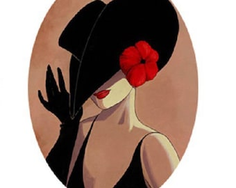 25x18mm, woman, Black Hat, red flower (right)