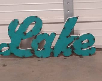 Rustic Metal Lake Sign - Wall decor - Cabin Sign - Lake Sign