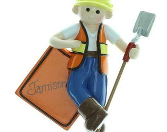 Construction Worker Personalized Christmas Ornament, Construction Worker  Ornament,Personalized,Construction Worker, Construction Guy