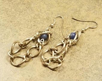 Silver Chain and Blue Bead Dangle Earrings
