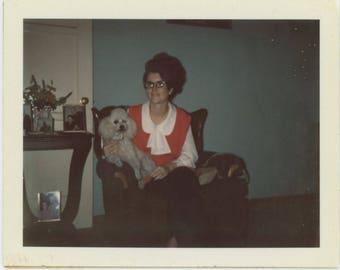 Vintage Polaroid Land Snapshot Photo: Woman with Poodle [81643]