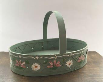 Vintage Swedish oval basket Handpainted storage basket Floral basket Farmhouse decor Easter basket