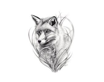 Fox Tattoo Flash - Nature Tattoo Flash - Fox Tattoo