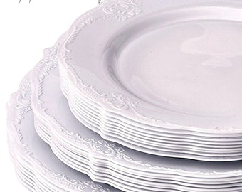 Vintage Style Modern Elegance Party Plates Ivory Disposable