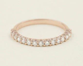 0.32ct.Diamond Wedding Band.Prong Set Half Eternity Band.14k Solid Gold Wedding Ring.Art Deco Half Eternity Diamond Band.14k Diamond Ring.