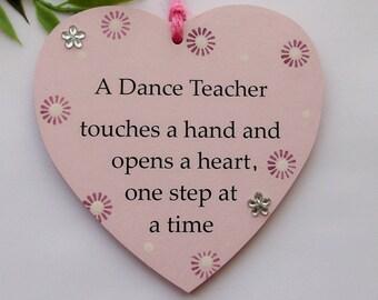 Dance Teacher Wooden Heart plaque