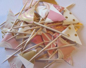 Blush, Gold, Cream, Pink Flag Food Picks, Flag Cupcake toppers, Set of 24,