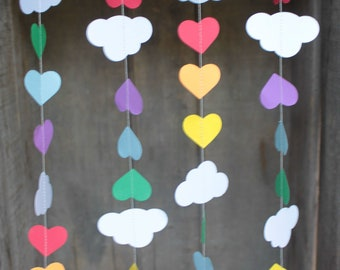 Rainbow Garlands, Rainbow Party Decorations, Rainbow Party Garlands, Cloud Garland, Paper Garland, SMALL Clouds and Hearts, 10 feet long