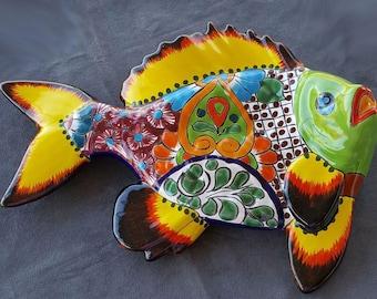 Large Twisting Fish Talavera Wall Art Vintage