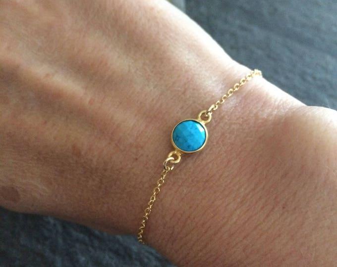 18K Gold fill tiny Turquoise bracelet - layering December Birthstone jewellery gift