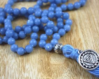 Throat Chakra // Angelite Knotted Mala // 8mm // Tassel Mala Necklace // Hand Knotted 108 Bead Mala // Prayer Beads // Yoga Jewelry Gift