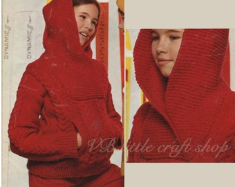 Child's hooded sweater knitting pattern. Instant PDF download!