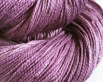 Hand Dyed Laceweight Yarn Merino Silk Barossa purple 100g
