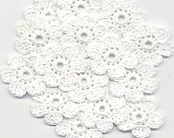 Crochet Flowers, White Crochet Flowers 3 cm/1.2 inch, Crocheted Flowers, Flowers Crochet, Crochet Applique, Handmade Applique Flowers