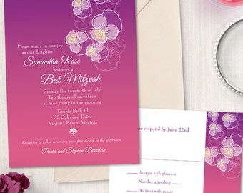 Ombre Floral Pansy Bat Mitzvah Invitation and Reply Card; Printable, Evite or Printed (US Only) Invitation, 5 Color Choices