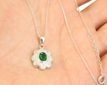 Solid sterling silver emerald necklace pendant