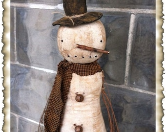 ePattern~Primitive Olde Winter Snowman Doll Sewing Pattern, PDF File