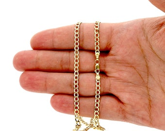 """14k Yellow Gold 3.5mm High Polished Cuban Curb Hollow Link Chain Necklace 18""""-26"""""""