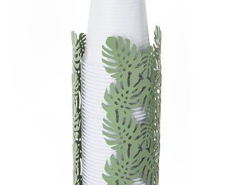Cup holder metal Leaves Sage 8X8X19 cm