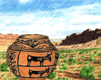 """Pueblo Zuni Deer, Southwest Native American Indian, Tribal Pottery Print, Three of Three, 5"""" x 7"""" Print of Colored Pencil Drawing, Wall Art"""