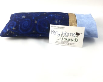 Eye Pillow with Removable Cover and Organic Ingredients, Aromatherapy Pillow, Stars and Galaxies in Blue