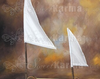 Real Wood Raft Boat with Sails Photography Prop