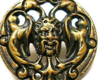 "Antique Grotesque mask BUTTON, 1800s Victorian gargoyle, monster, satan face 3/4""."