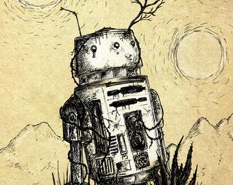 Bad Motivator- A4 Star Wars-inspired robot art print by Jon Turner- droid R5D4- FREE WORLDWIDE SHIPPING