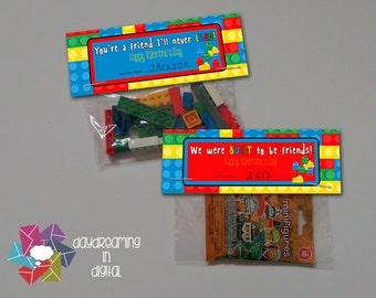 INSTANT DOWNLOAD - Digital File - Building Block Valentine Treat Bag Topper- Printable