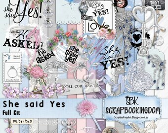 Engagement Digital Scrapbook Kit, marriage Proposal : also suits wedding scrapbook  He asked she said Yes! engagement ring, romance hearts