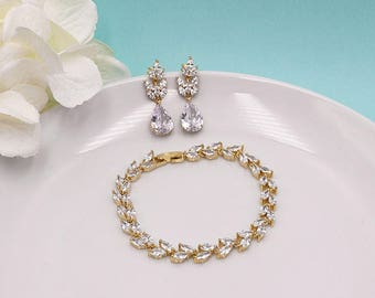 Wedding Jewelry Set, Bridal Jewelry Gold, Wedding Earrings and Bracelet Sets, Jewelry Sets for Brides, CZ Leaf, Evelyn Gold Bracelet Set