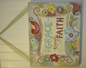 By Grace Through Faith 11 x 14 original canvas painting Primitive Folk Art Home Decor Painted Wall Artwork..Flower Bird Aqua Red Bible verse