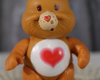 """Vintage Care Bears Tender Heart Bear Poseable PVC tenderheart brown 1983 3.5"""""""