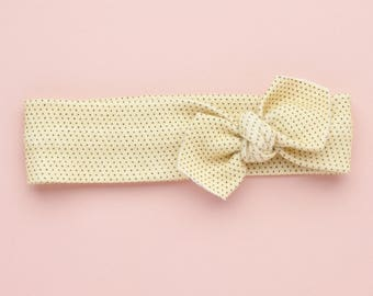 Yellow Polka Dot Organic Cotton Knotted Headband/ Infant Headband/ Toddler Headband/ Gift for Baby Girl