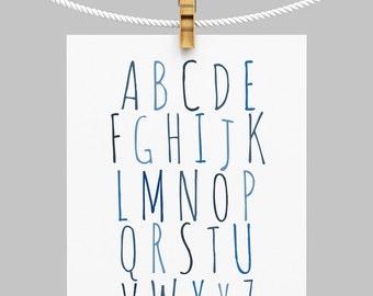 Nursery Alphabet Printable, ABC Wall Art, Navy Blue Nursery Printable, Kids Room Wall Art, Alphabet Art, ABC Printable, Large Nursery Art