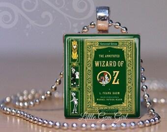 Wizard of Oz Vintage Book Cover Necklace Pendant - Dorothy Tin Man Lion Scarecrow Scrabble Charm