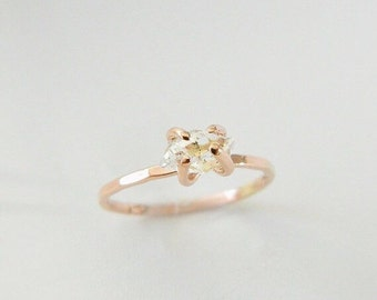 Rose Gold Engagement Ring, Engagement Ring Rose Gold, Diamond Engagement Ring, Herkimer Ring, 14K Rose Gold, Engagement Ring