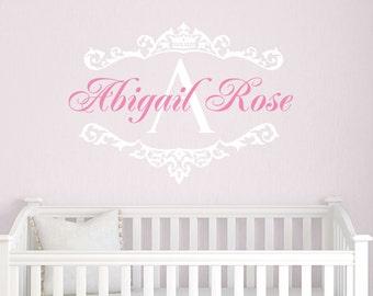 Princess Name Decals, Girls Nursery Decor, Princess Wall Decals, Baby Girl Nursery, Wall Decals