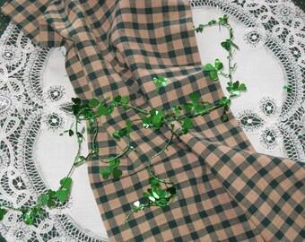 Homespun Cotton Fabric Primitive Checks Dark Green and Tan 1/2 Yard