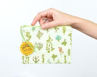 Light Green Plant Bits Small Flat Zipper Pouch   Original Fabric Design