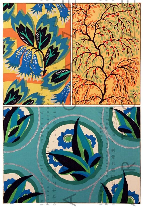 Fabulous art deco flowers vintage fabric floral patterns for Pochoir deco